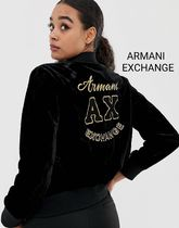 【関送込】Armani Exchange*velvet embroidered bomber jacket