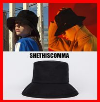 韓国の人気☆【SHETHISCOMMA]☆BASIC BUCKET HAT☆ブラック☆