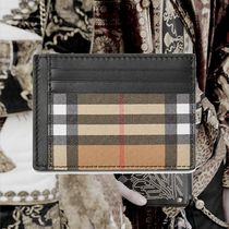 **Burberry** Vintage Check and Leather Money Clip Card Case