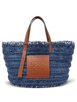 Leather-trimmed woven denim tote bag かごトートバッグ