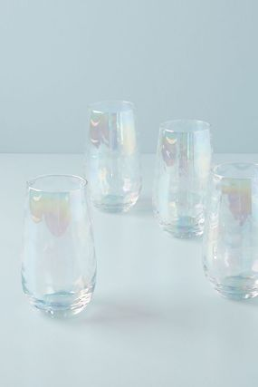 【Anthropologie】Lustered Highball PEARL グラス4個セット