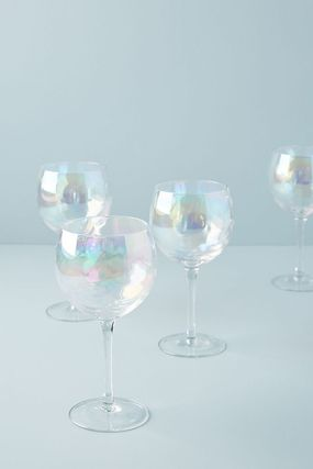【Anthropologie】Lustered Wine PEARL グラス4個セット