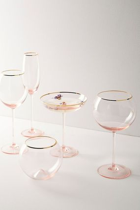 【Anthropologie】Gilded Rim Red Wine Pink グラス