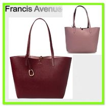 Ralph Lauren Merrimack Reversible Leather Tote Merlot/Rose