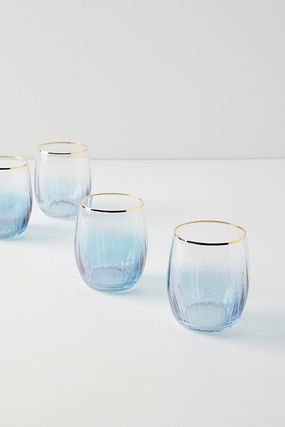 【Anthropologie】Waterfall Stemless Wine グラス4個セット