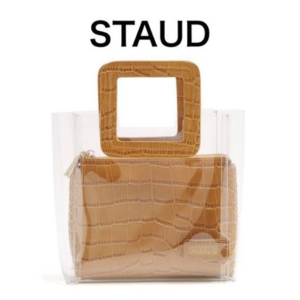 STAUD トートバッグ 【19SS】★STAUD★Mini Shirley PVC and leather tote bag