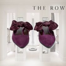 【18AW】THE ROW★Coco bow-embellished suede mules