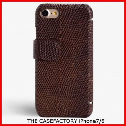 THE CASE FACTORY スマホケース・テックアクセサリー 関税送料込☆THE CASEFACTORY☆IPHONE7/8 CARDCASE LIZARD BROWN