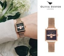 【Olivia Burton】Square Dial 3D Bee Midnight & rose gold