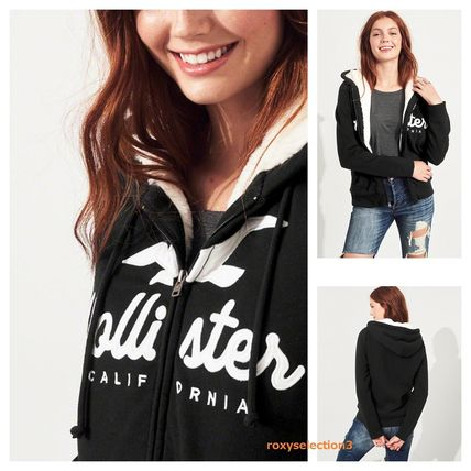 【Hollister】Logo Graphic Hoodie☆ロゴパーカー☆ボア付き