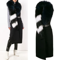 18-19AW OW082 WOOL LONG GILET WITH FUR