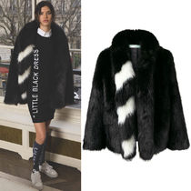 18-19AW OW083 LOOK6 FAUX FUR COAT WITH STRIPED DETAIL