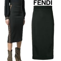 【19SS】 ★FENDI ★FF logo band fitted skirt