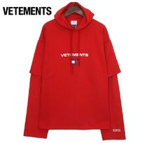 VETEMENTS×TOMMYコラボ★Double Sleeve Hoodie(red)