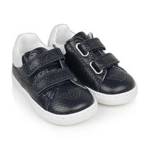 Girls Navy & White Leather Trainers