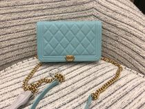 Boy Chanel新作♡キャビアChain Wallet♡Light Blue