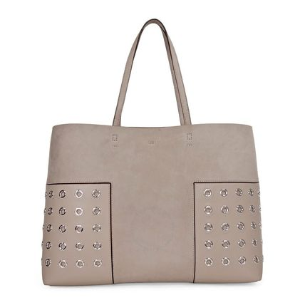 【Tory Burch】A4収納☆Block-T Grommet Tote - French Gray