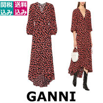 Ganni(ガニー) ワンピース 2019新作☆ GANNI ☆ Printed crepe wrap dress