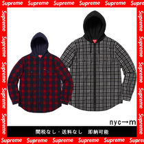 即納国内発送 supreme hooded plaid work shirt シュプ