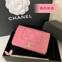 CHANEL 国内発送♪ 19SS♪ フラップカード/コインケース ピンク