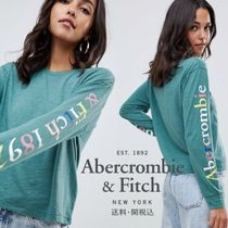 Abercrombie & Fitch レインボー アームロゴ入り長袖Tシャツ