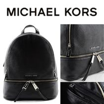 Black Rhea Zip Md Backpack In Leather By Michael Kors