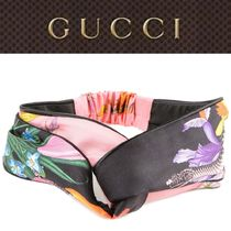 Black Head Band Flora Snake In Silk By Gucci