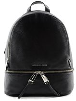 ◇Black Rhea Zip Md Backpack In Leather By Michael Kors