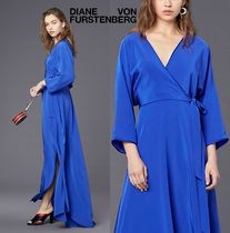 セール!DVF★気品溢れるブルー Long-Sleeve Floor-Length Wrap
