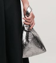 """COS""  LEATHER WRISTLET BAG SILVER"