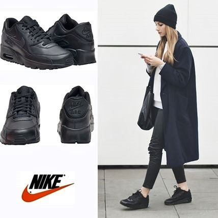 Nike キッズスニーカー ☆⌒'*大人も履ける★Nike Air Max 90 Leather【Black】