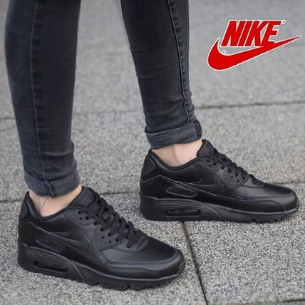 Nike キッズスニーカー ☆⌒'*大人も履ける★Nike Air Max 90 Leather【Black】(2)