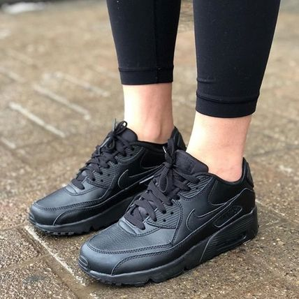 Nike キッズスニーカー ☆⌒'*大人も履ける★Nike Air Max 90 Leather【Black】(3)
