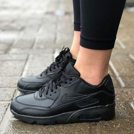 Nike キッズスニーカー ☆⌒'*大人も履ける★Nike Air Max 90 Leather【Black】(4)