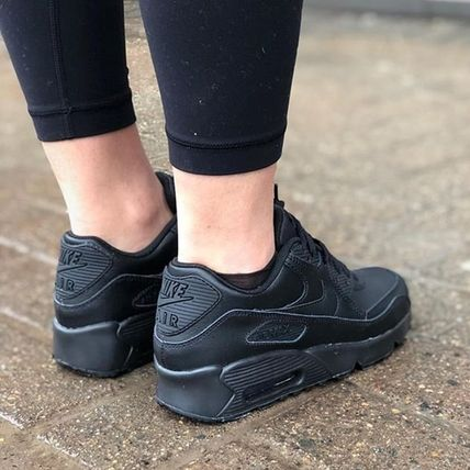 Nike キッズスニーカー ☆⌒'*大人も履ける★Nike Air Max 90 Leather【Black】(5)