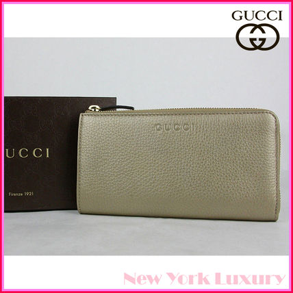 GUCCI★グッチ★素敵!Light Gold Leather L-Zip Wallet