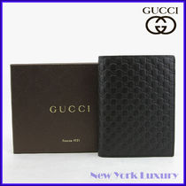 GUCCI★素敵!Black Guccissima Leather Passport Holder Wallet