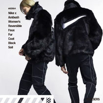 人気話題!Nike x Ambush Wmns Reversible Faux Fur Coat Black