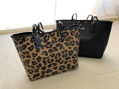 【国内発送最短1日!】Coach Leopard Reversible City Tote