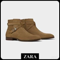 ☆ Men's ZARA☆ LEATHER BOOTS WITH BUCKLE