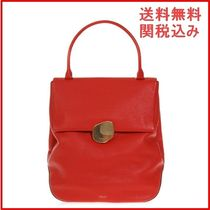 Mulberry RED LEATHER BAG ハンドバッグ レディース