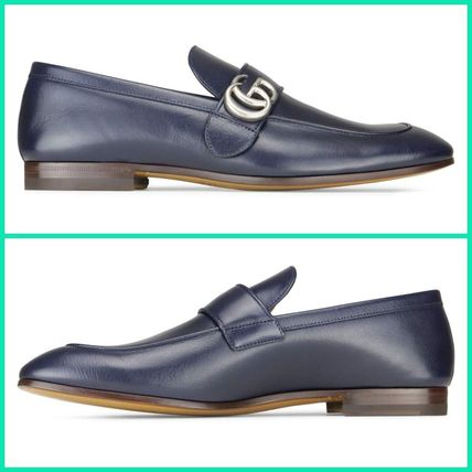 【GUCCI】LEATHER LOAFER WITH GG