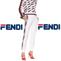 期間限定☆White 'Fendi Mania'  fabric tracksuit trousers☆