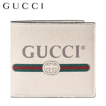 official photos 5902c 2569a GUCCI グッチ メンズ 財布 折り畳み ロゴ入り レザー 白