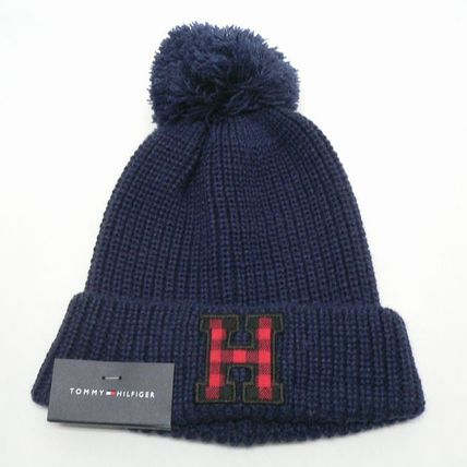 TOMMY HILFIGER ニットキャップ ボンボン トミヒル 紺 (9082)
