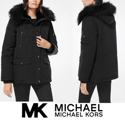 Micheal Kors★Cotton-Canvas and Faux Fur Anorak