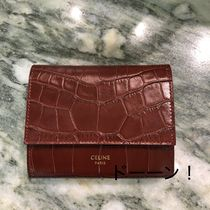 "【CELINE】SMALL ""TRIFOLD"" WALLET / CROCO (Light Burgundy)"