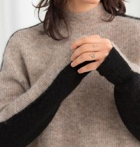 """& Other Stories"" Mock Neck Colour block Sweater Oatmeal"