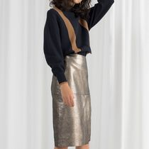 """& Other Stories"" Metallic Leather Pencil Skirt Gold"