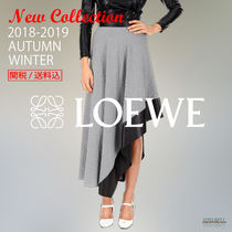 18-19AW LOEWE asymmetric skirt with leather details